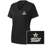 Ladies Racermesh V-Neck Black