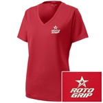 Ladies Racermesh V-Neck Red
