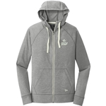 Sueded Cotton Full-Zip Hoodie Grey