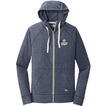 Sueded Cotton Full-Zip Hoodie Navy