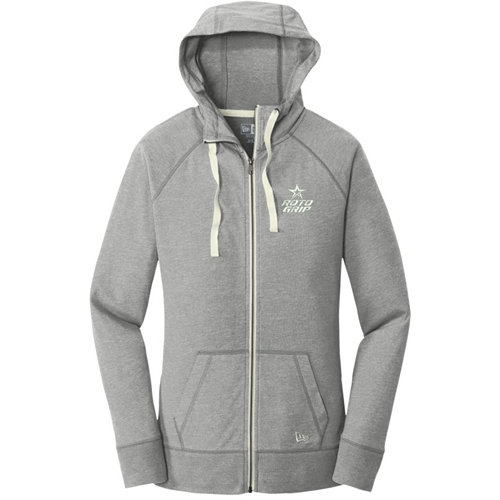 Ladies Sueded Cotton Full-Zip Hoodie Grey