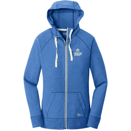 Ladies Sueded Cotton Full-Zip Hoodie Royal